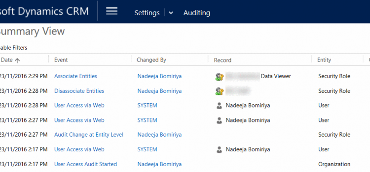 Dynamics 365 (CRM) – Enabling Auditing to monitor User's Security Role changes