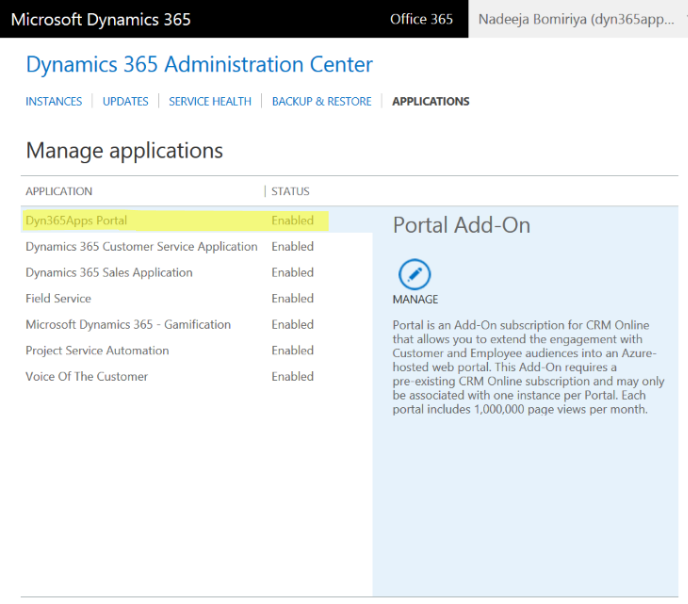 Dynamics 365 Administration Center - Applications - Portal Add-on Enabled