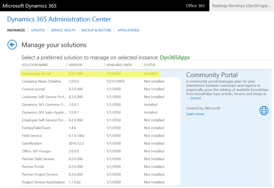 Dynamics 365 Administration Center - Community Portal Installed
