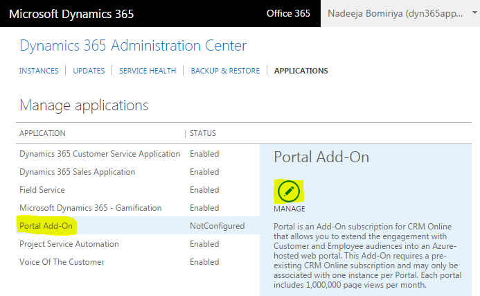 Dynamics 365 Administration Center - Portal Add-on