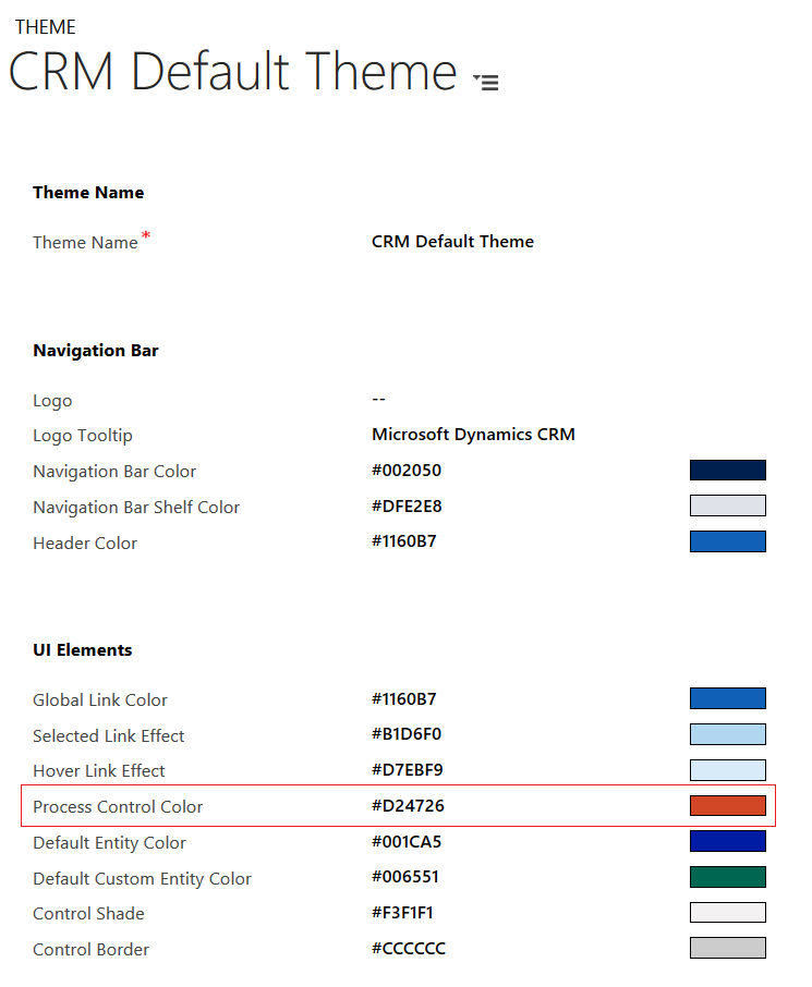 Dynamics CRM 2016 - Theme - Process Control Color