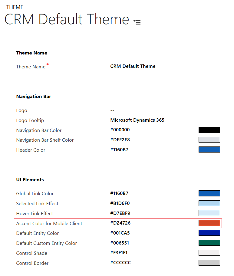Dynamics CRM 365 - Theme - Accent Color for Mobile Client