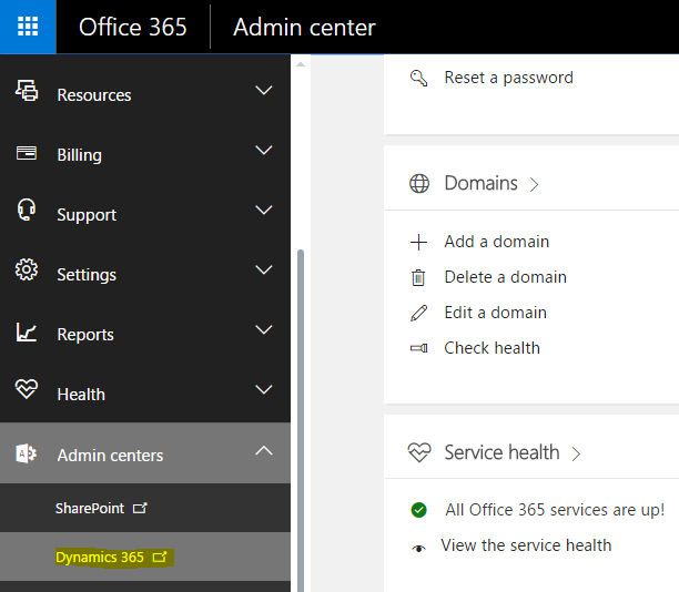 open-dynamics-365-admin-center