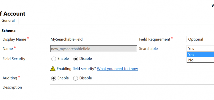 [KB] Understanding Dynamics 365 Field's Searchable property