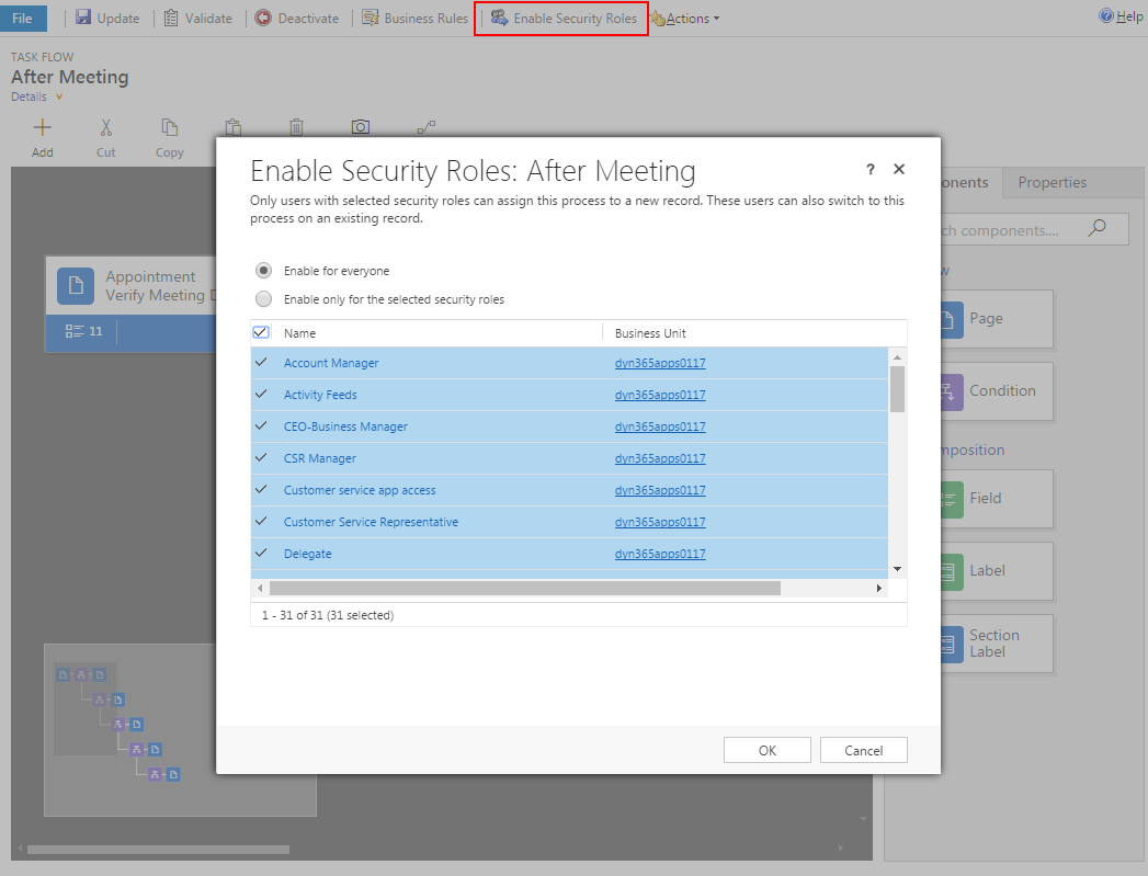 Dynamics 365 BPF After Meeting - Enable Security Roles