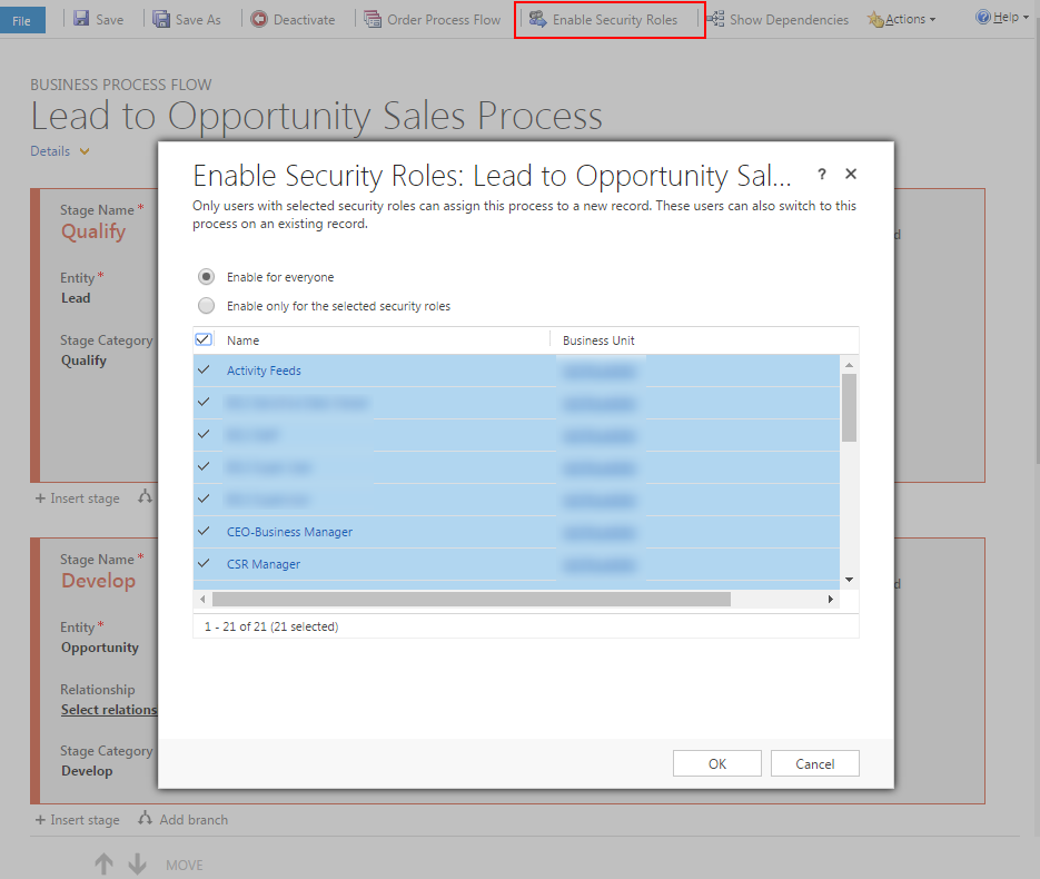 Dynamics CRM 2016 BPF - Enable Security Roles