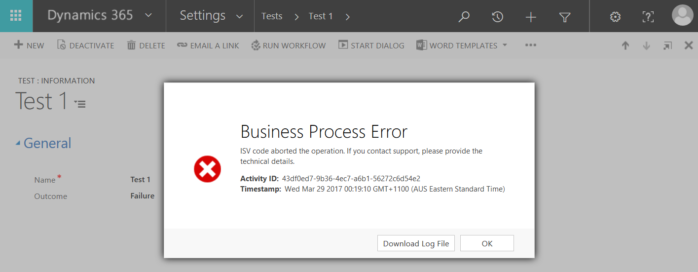 Business Process Error - Stop Workflow - Canceled