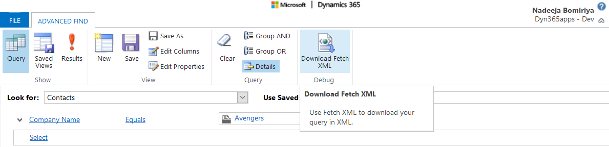 Advanced Find to create fetchxml queries