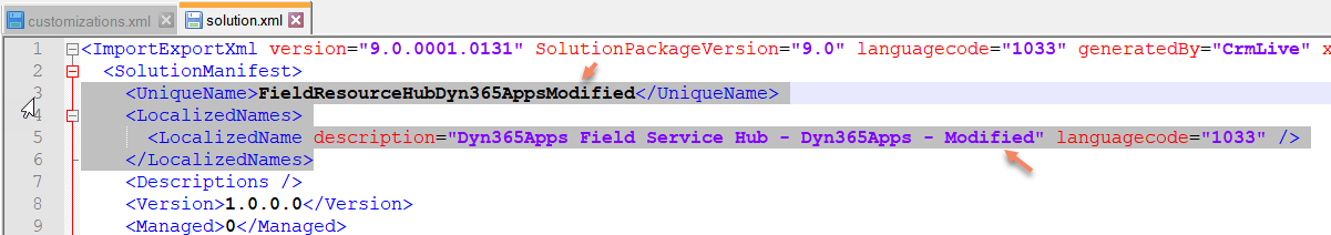 Modify Solution Name