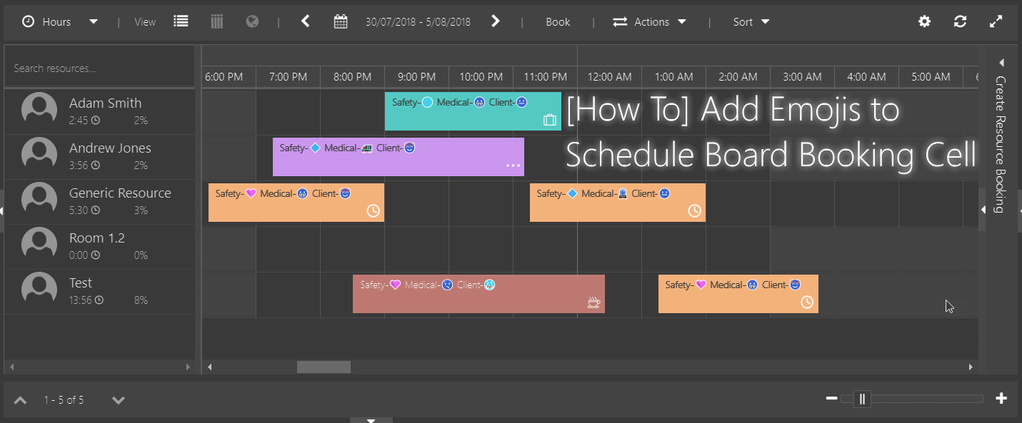 How To Add Emojis to Schedule Board Booking Cell